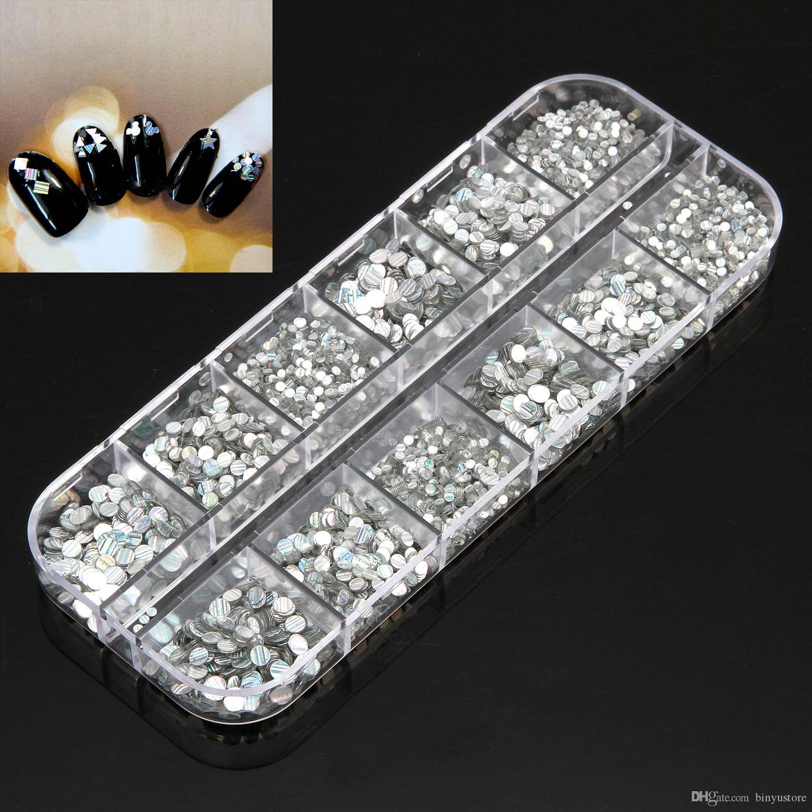 1mm 2mm 3mm Nail Art Decoration Glitter Shiny Round Striped Sequins Paillette come in storage box