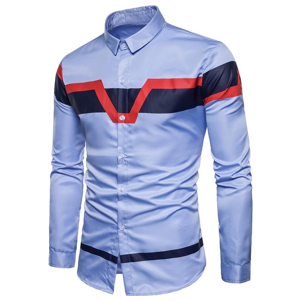 2018 Nuevo Turn down Collar Collar de Bloque de Color para hombre Camisa Estampada para Hombre Camisas Casuales Manga Larga Slim Fit Otoño Características Moda