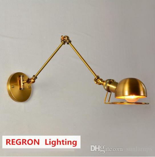 Regron Europe Style Vintage Industrial Led Bronze Color Wall Lamp Iron Adjustable Wall Light Bedside Wall Fixture Cafe Living Room Loft