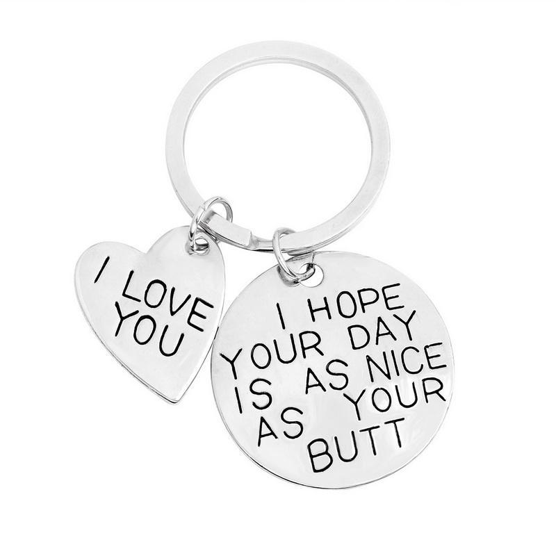 """Portachiavi a forma di cuore Portachiavi a forma di cuore """"I LOVE YOU HOPE YOUR YOUR DAY IS NICE AS YOU"""" Gioielli per il tuo amico"""