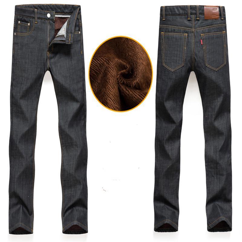 2016 Inverno Nuovi uomini Jeans Solid Warm Addensare Pantaloni 2 colori jeans veri uomini Plus Size28-40