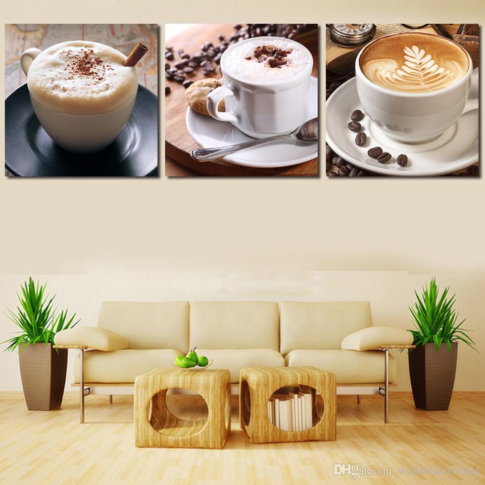 Modulaire Image Imprimé 3 Panneau Thé Et Café Moderne Art Cadre Giclée Peinture À L'huile Sur Toile Ensemble Mur Art Décoration