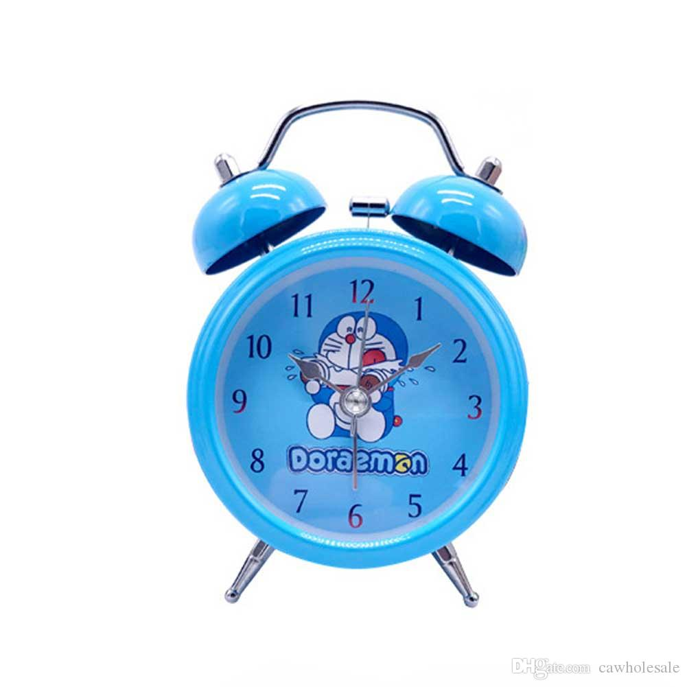 1 pcs Cartoon student mute ringing alarm clock with warm night light for students kids home