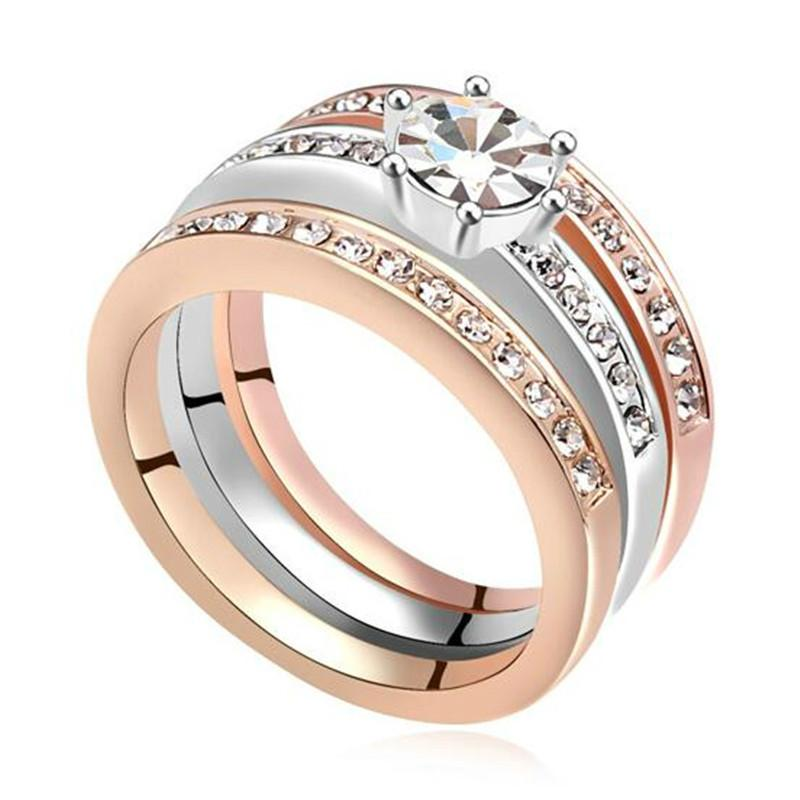 3 conjunto anillos para las mujeres con el cristal austríaco de Swarovski Elements incluyen la joyería de apilado de manera femenino de regalo de cumpleaños 17123
