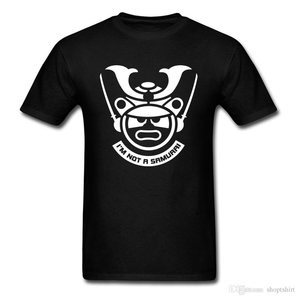 2018 Nova Moda Slim Fit Homens Camiseta 100% Algodão de Manga Curta Simples Estilo Camisolas Im Não Um Samurai T-Shirts Na Venda Melhor