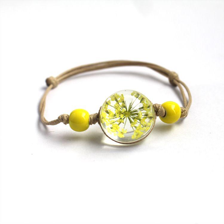 Charme main réel à sec de fleur boule en verre Weave réglable Bangle Bracelets fleurs pour les femmes en gros bijoux à la mode