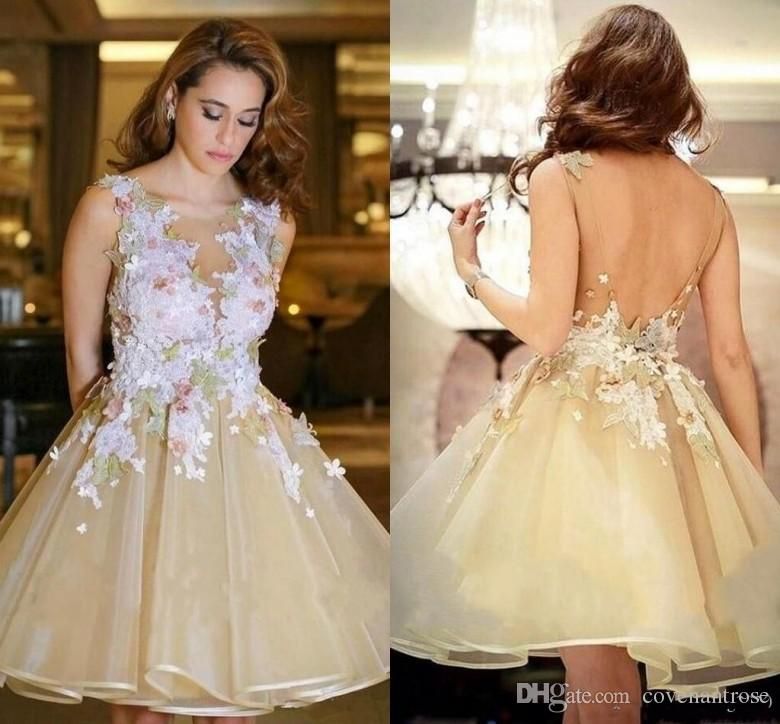 2018 Yellow Homecoming Dresses 3D Lace Floral Puffy Skirt Short Party Gowns V Back Open Graduation Dress