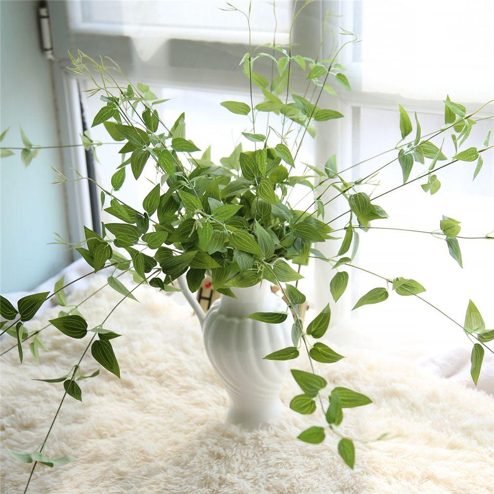 Fake Silk Iron Line Chlorophytum Flores artificiales Green bracketplant Hojas para el hogar Decoración de la boda Colgando Garland Decor