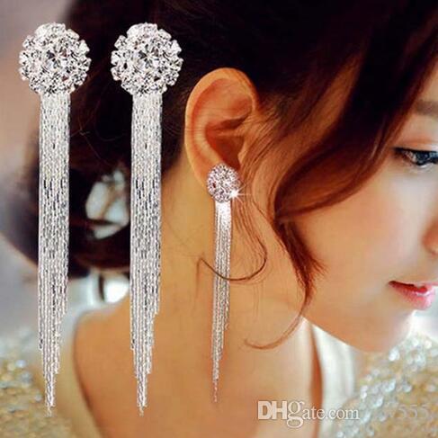 ¡Envío gratis! Accesorio de lujo Nueva moda plateado cristal redondo colgante borla pendientes mujeres nupcial joyería de compromiso