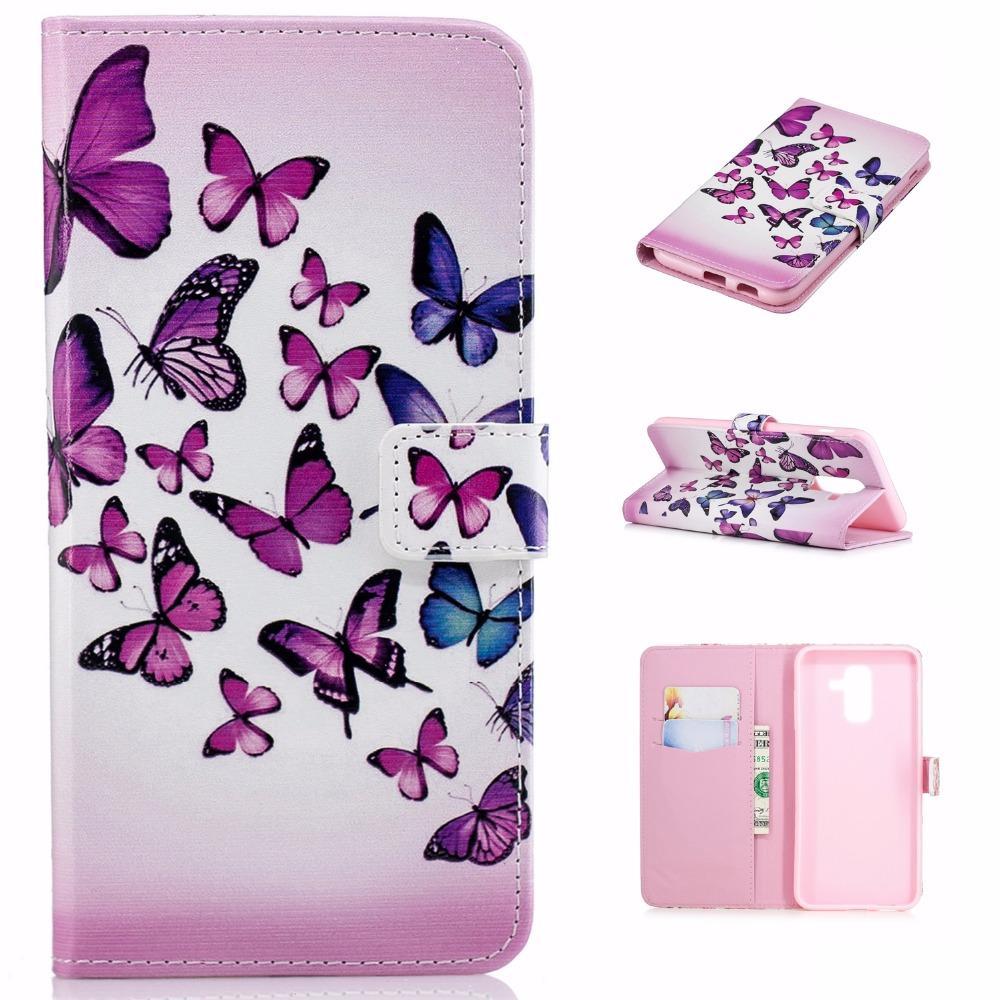 20 шт. / лот Бесплатная доставка 4 цветов тиснением 2 карты кожа популярные чехол для Samsung Galaxy J4 J6 J8 2018 стенд case