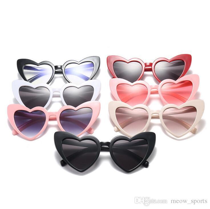 새로운 고양이 눈 선글라스 7 색 여성 Childern 태양 안경 패션 여성 빈티지 UV400 안경 어린이 어머니 안경 선물 하트 모양의