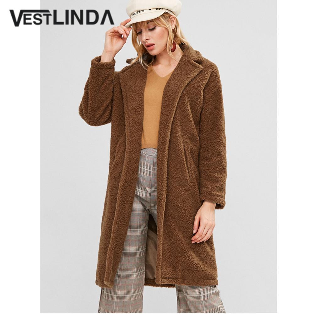 Fuzzy Coat Open Stitch Turn Down Collar Lunghezza al ginocchio Lungo Cappotto di lana Donna 2018 Winter Sherpa Coat Moda Solid Brown Overcoat