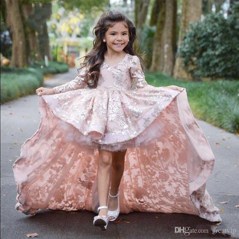 Compre Vestidos De Fiesta De Graduación Para Niños Vestidos De Niña De Flores De Color Rosa Alto Bajo De Manga Larga Para La Boda Apliques De Encaje