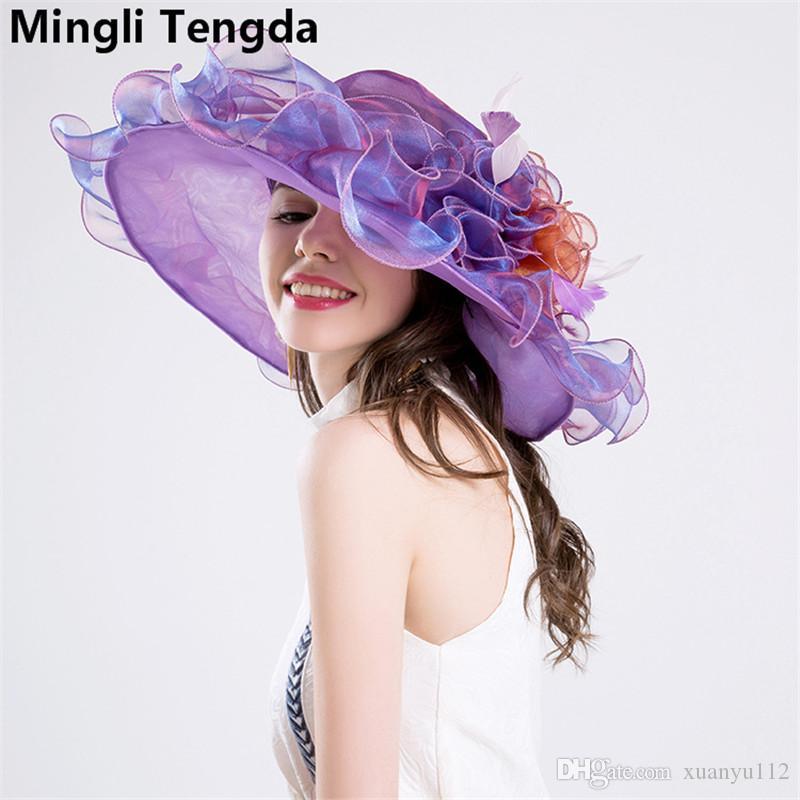 2018 New Hot Safe Retro Organza Wedding Hats for Elegant Women Bridal Hat Chapeau Mariage Hats with Wedding Bridal Accessories Mingli Tengda