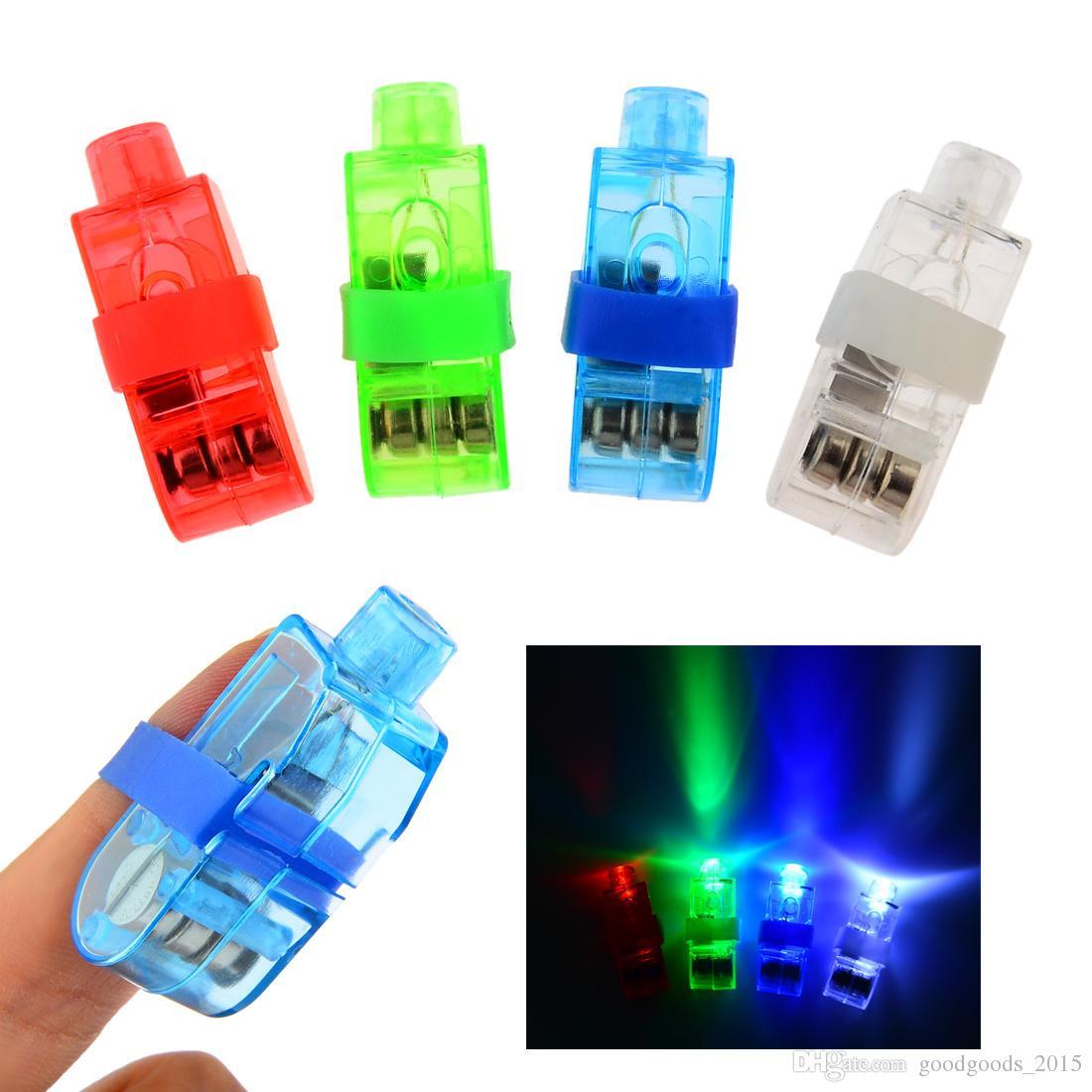 Lámpara del dedo del LED luces del anillo de dedo del resplandor del partido del dedo del laser de destello juguetes del cabrito 4 colores del regalo de Navidad 100pcs a366