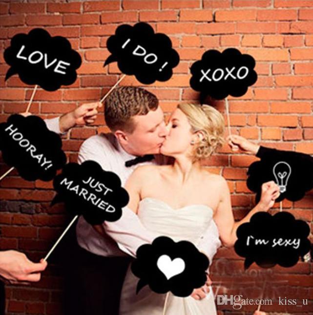 DIY 10pcs black cards +10pcs sticks+chalk Mr Mrs Photo Booth Props Love DIY Photography Wedding Decoration Party photobooth