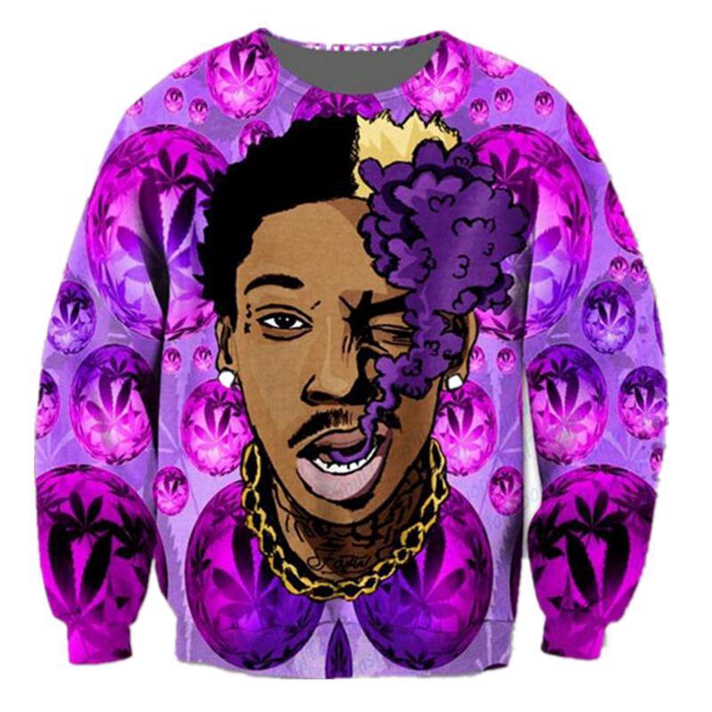 Новое прибытие мода Мужчины / Женщины Звезда Виз Халифа смешные 3D PrintedSweatshirt стиль мода повседневная толстовка B253