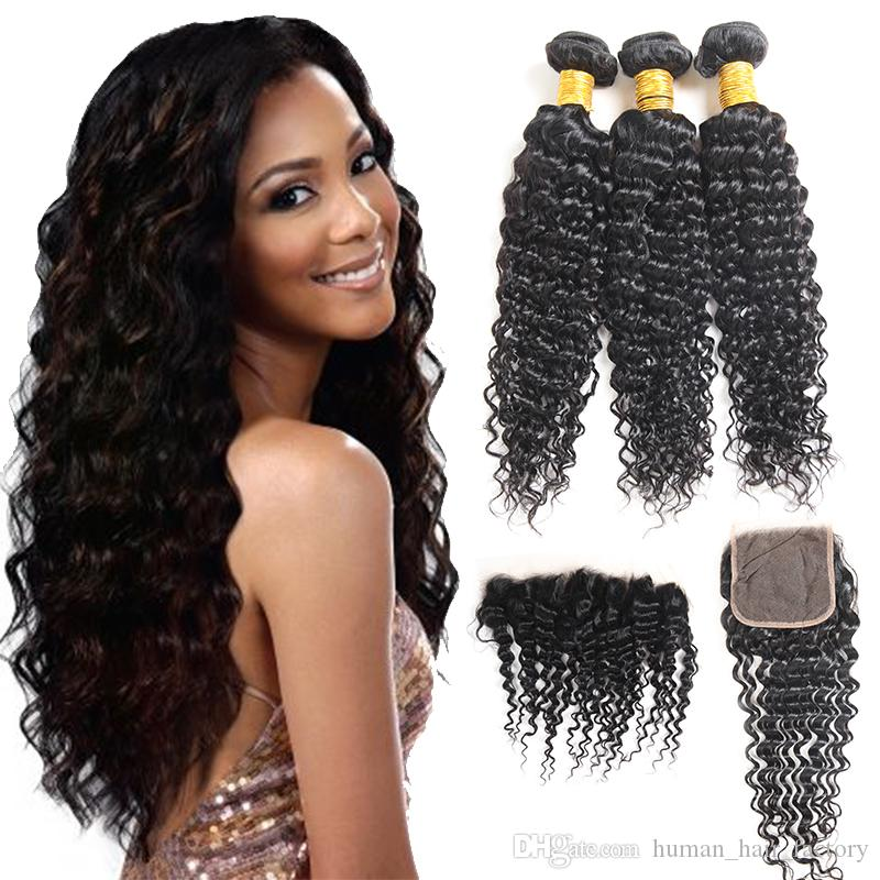 Factory Deep Wave Virgin Hair 3 Paquetes con Frontal Profundo Onda Remy Extensiones de Cabello Humano Raw Virgin Brazilian Mongolian Hair