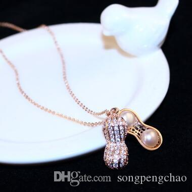 Korean Pearl peanut Pendant Necklace Vintage Rose Gold Plated Necklace for Women Party Fashion Choker Necklace Collar Costume Jewelry Access