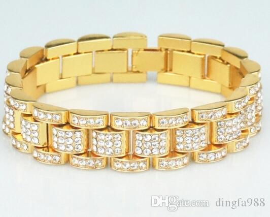 14 K золото полностью оттаявшим президент смотреть Band CZ мужской браслет