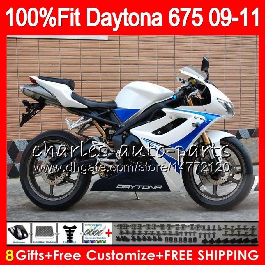 Injection For Triumph Gloss white Carrocería Daytona 675 2009 2010 2011 2012 107HM.63 Daytona 675 09 10 11 12 Daytona-675 Daytona675 Carenado