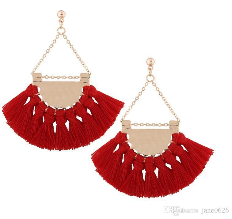 European and American fashion fan Tassel Earrings high-end Bohemia exaggerated Earrings accessories Long Tassel Fringe Dangle Earrings
