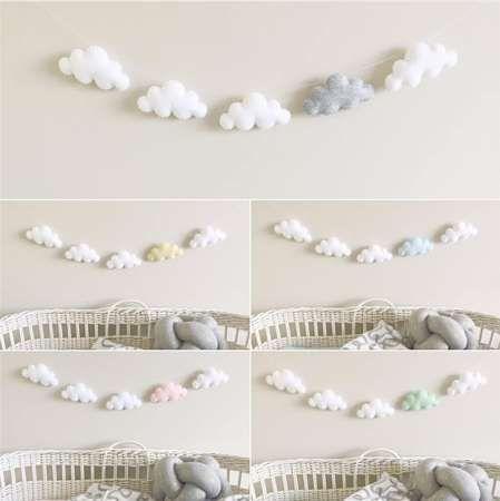 5 unid / set simple nube guirnalda adorno dormitorio del niño pared colgante o cabecera vivero de cumpleaños de navidad cuna móvil cuna móvil campana