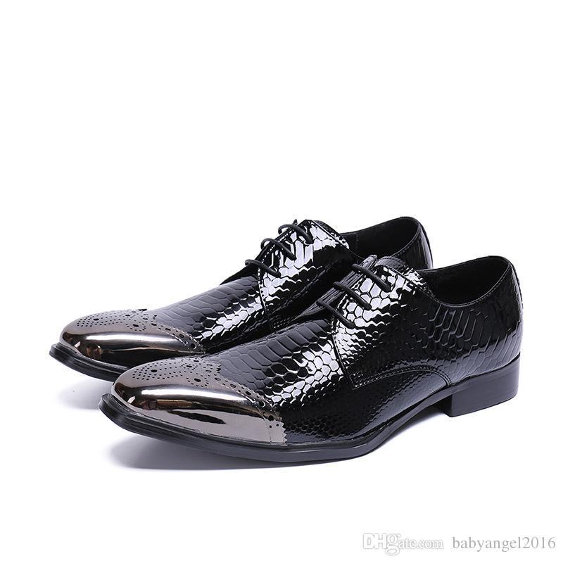 Neues Patent Echtes Leder Männer Kleid Schuhe Silber Metall Toe Lace Up Business Schuhe Männlich Chunky Heel Party Hochzeit Schuhe