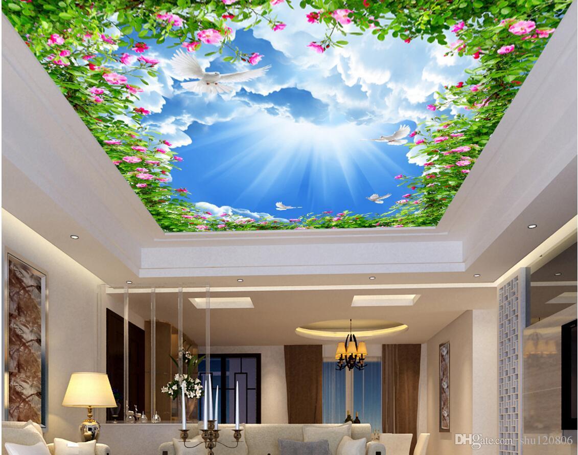 3d фото обои на заказ настенная Голубое небо и белые облака Солнечный свет цветы потолочные фрески украшения дома обои комната для гостиной стены 3d