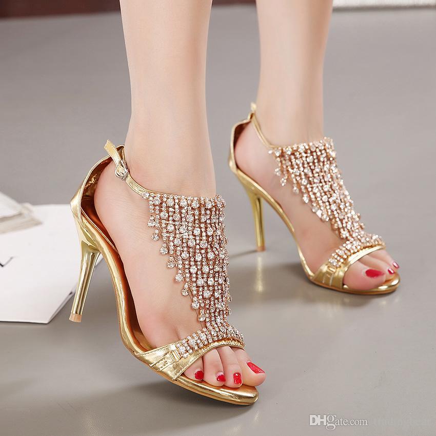 Altın rhinestone ile yüksek topuk sandalet gelinlik ayakkabı yüksek platformu stiletto topuklu siyah gladyatör sandalet epacket ücretsiz kargo