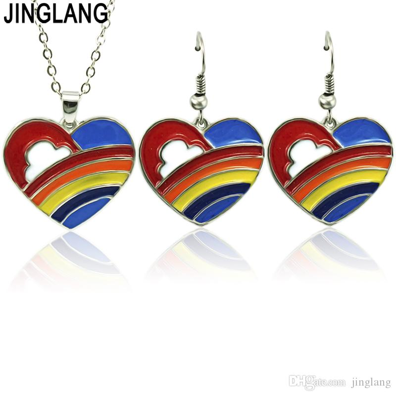 JINGLANG Couples love Jewelry sets Wedding Necklace Earrings Jewelry Sets Imitation enamel necklace earring set for women