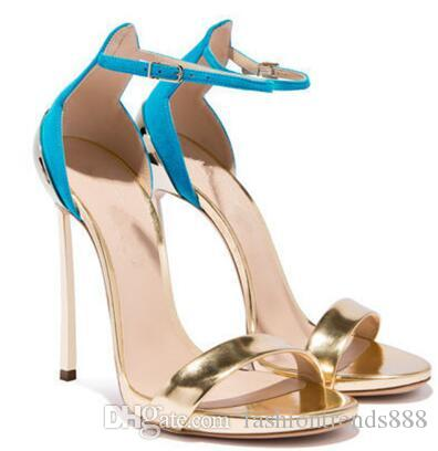 Moda de verão Sandálias de salto alto Calçados femininos 2 cores para escolher Salto de metal Ultimos produtos em 2018 sandálias com tira no tornozelo