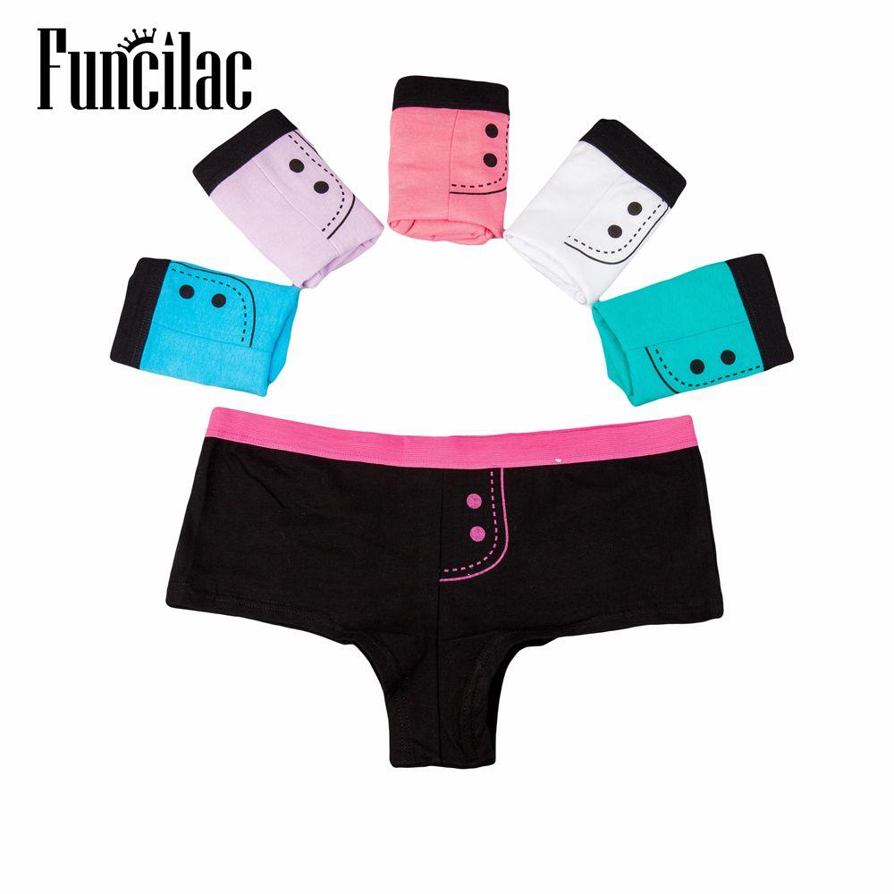 FUNCILAC Mulher Cuecas Calcinhas Mulheres Boxers Algodão Impresso Shorts Ladies Calções Boyshort para Mulheres 6 pçs / lote