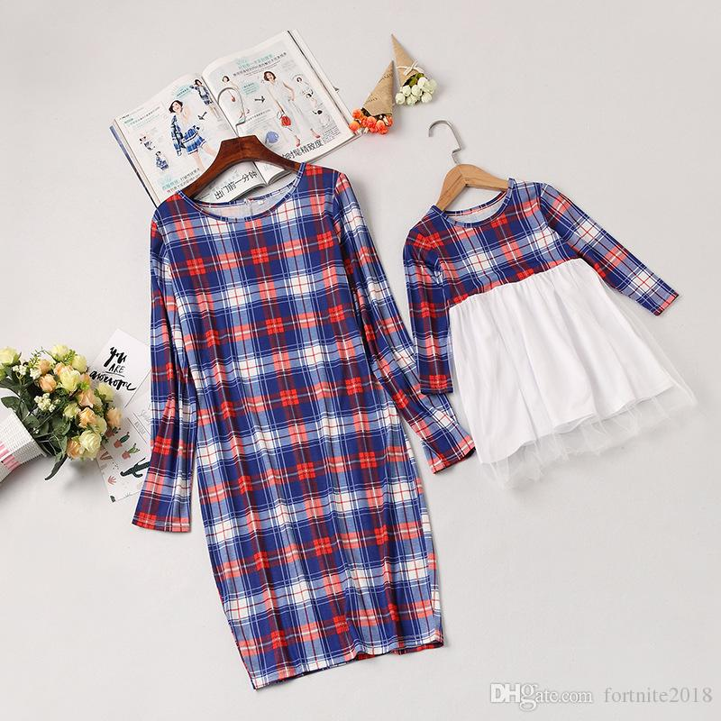 Mother Daughter Long Sleeve Plaid Family Dresses Mommy And Me Matching Outfits Moms And Girls Round Neck Plaid Shirt Clothes Family Matching Costumes Mother Daughter Matching Easter Outfits From Fortnite2018 9 12 Dhgate Com