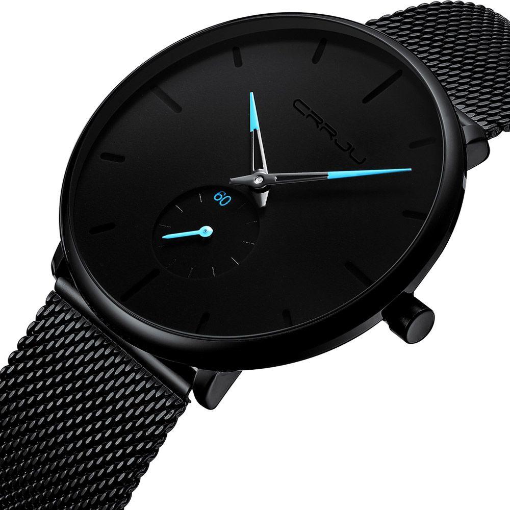 Hommes de luxe marque de haute qualité de mode montre à quartz simple design cadran ultra mince acier inoxydable bracelet de maille de milan montres étanche