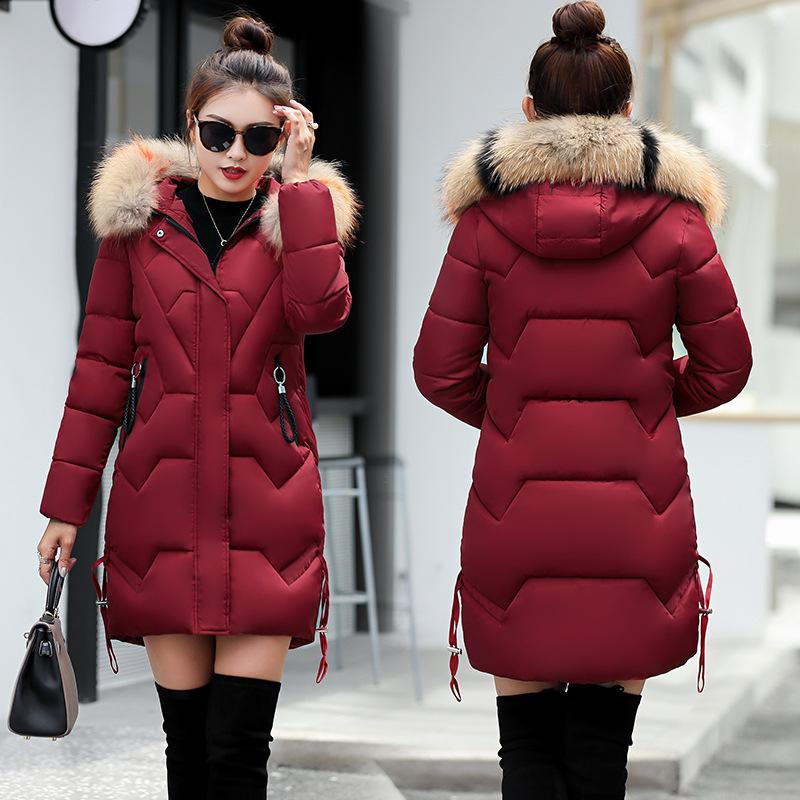 6b21be0e0 Winter Women Coat 2018 Big Fur Hooded Long Faux Fur Coats Cotton Padded  Warm Thicken Parkas Ski Down Jacket Manteau Femme Hiver