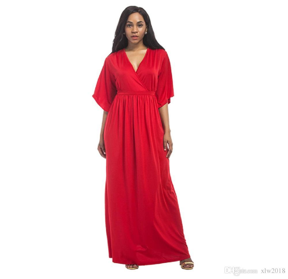 2018 New Fashion Plus Size Womens Long V Neck Kaftan Short Sleeve Maxi  Dress For Girls, Ladies And Pregnant Women Bridal Dress One Shoulder  Dresses ...