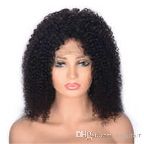 Glueless Kinky Curly Lace Front Human Hair Wig for African American Peruvian Virgin Hair Wig Medium Cap