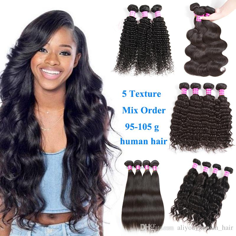 Malaysian Wet and Wary Hair Weave 6 Bundles Brazilian Virgin Hair Body Wave Straight Peruvian Deep Water Kinky Curly Human Hair Extensions