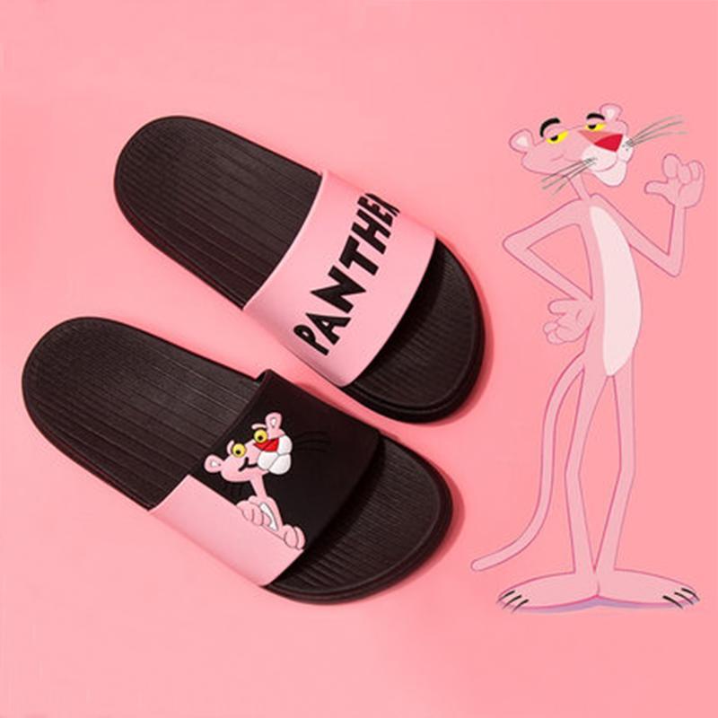 Летние женские тапочки горки розовая пантера мультфильм прекрасные пляжные тапочки сандалии на платформе женская обувь шлепанцы Zapatillas Mujer