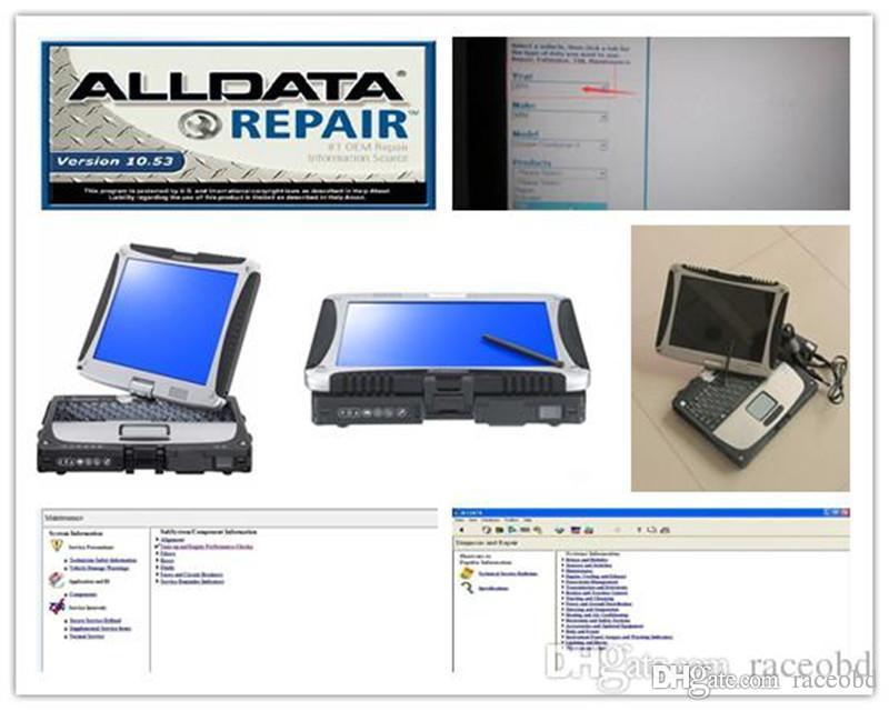 Nuovo strumento di riparazione AllData Tutti i dati 10.53 Diagnostica auto e camion con computer CF19 TOUCG Screen HDD 1TB Windows 7