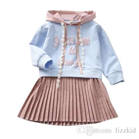 Осень девушки одеваются толстовки с платье весна осень плиссированные Платье футболка девушки повседневная твердые девочки-подростки одежда