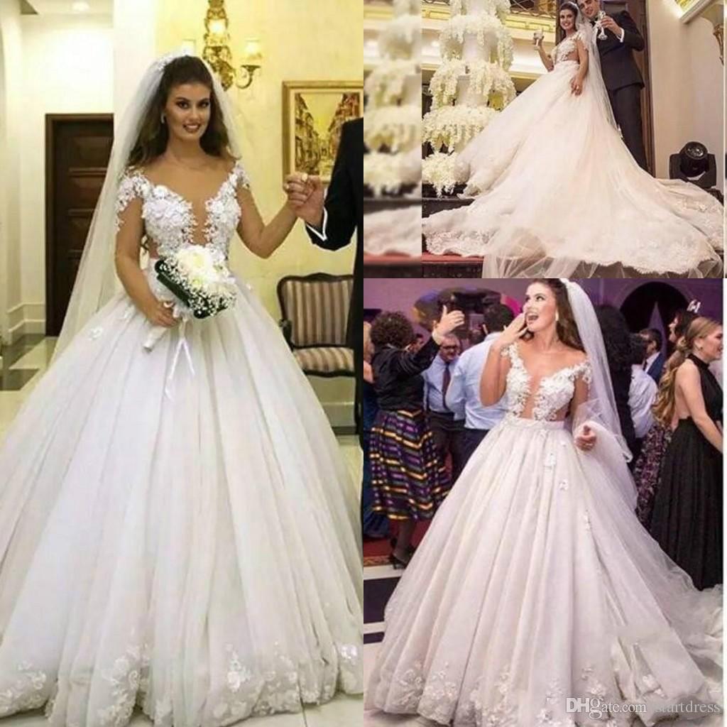 Vintage White Saudi Arabia Ball Gown Applique Floral Wedding Dresses Illusion Long Sleeve Lace Country Garden Bridal Elegant Church Train