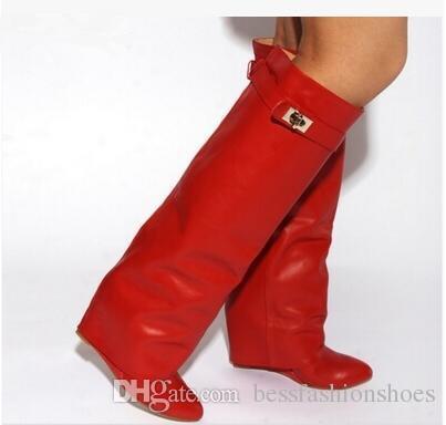 Winter Knight Booties Gürtelschnalle Keil Stiefel Frauen Sexy Spitz Toe Lock Falten über Kniehohe Stiefel Höhe zunehmende Stiefel Größe 35-42