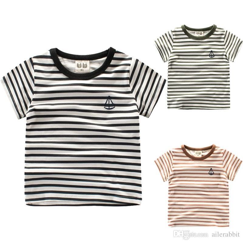 ملابس الأطفال الفتيات والصبي تي شيرت صيف جديد النمط الغربي المشارب الطازجة من أعلى س الرقبة قصيرة الأكمام