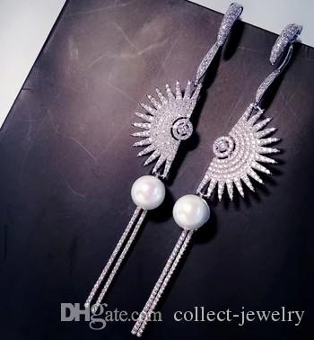 perlas de alta calidad natural de la perla de plata del diamante del estilo del ventilador de la perla 925 (2.2 * 3.5 cm)
