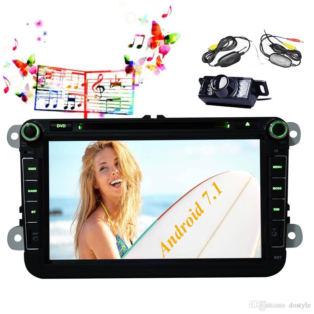 Cámara inalámbrica + Doble 2 Din car DVD Reproductor de CD Bluetooth Unidad principal GPS Estéreo 8 '' 8 núcleos Estéreo 2G + 32G Ranura USB 1080p Video