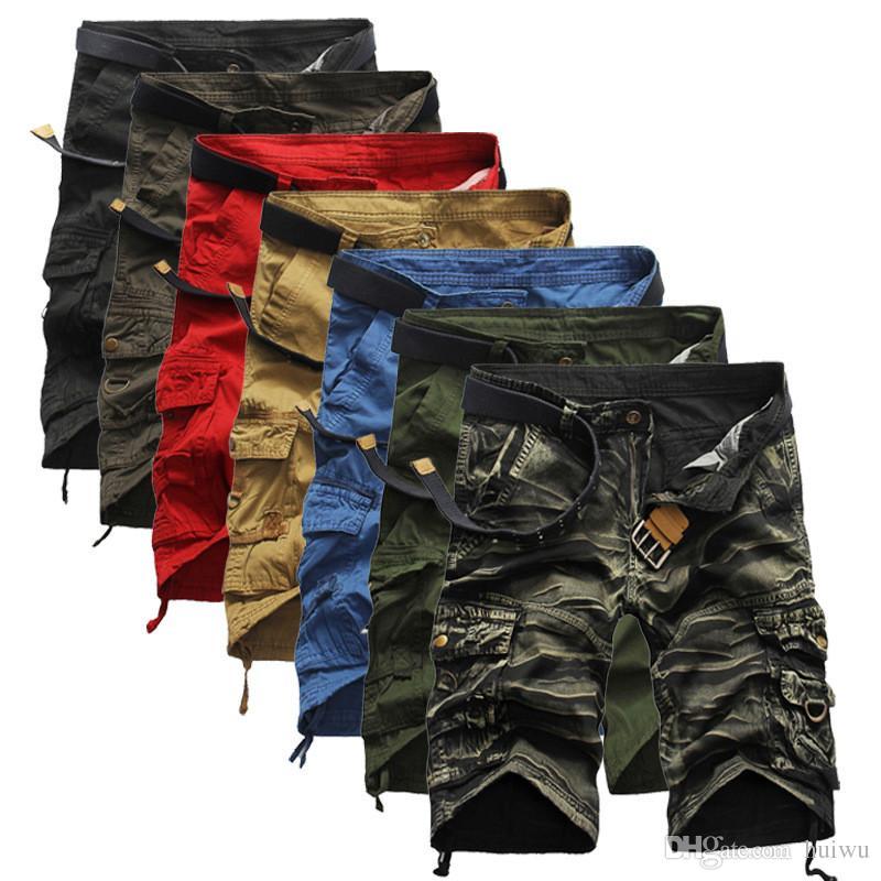 Pantaloncini cargo nuovi da uomo Pantaloni corti allentati casuali Camouflage Militari stile estivo Lunghezza ginocchio Pantaloni taglie forti