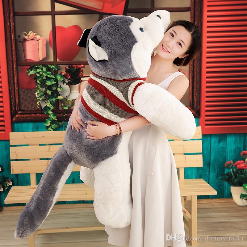 Dorimytrader Hot Animal Husky Plush Toy Large Stuffed Cartoon Dog Doll Animals Toys Sleeping Pillow for Lover Gift 150cm 170cm 200cm DY50169