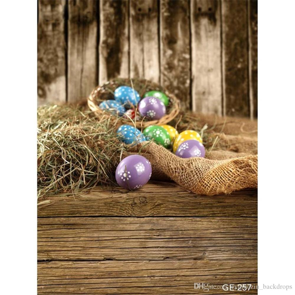 DaShan 14x10ft Spring Floral Wood Easter Backdrops for Girls Photography Flowers Easter Eggs Basket Rustic Wood Wall Background Kids Baby Newborn Children Easter Party Decoration Photo Props